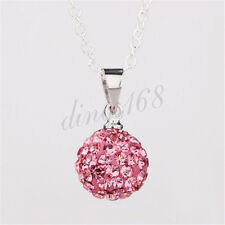 925 Sterling Silver Fashion 10mm Crystal Round Disco Ball Pendant+Necklace Chain