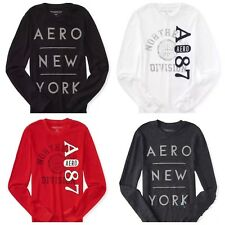 NEW AEROPOSTALE MEN LONG SLEEVE AERO 87 THERMAL NYC GRAPHIC T SHIRT RED XS,M,L
