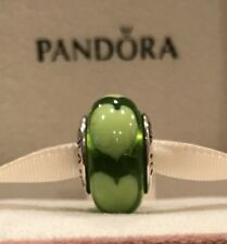 Authentic Pandora Hearts Green Murano Glass Bead Retired Pandora Bead