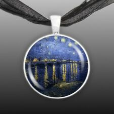 """Starry Night Over the Rhone Art Van Gogh Painting 1"""" Pendant Necklace ST"""