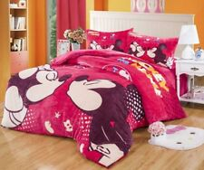 Mickey Minnie Mouse Flannel Quilt Comforter Bedding Set Twin Full Queen Size Bed
