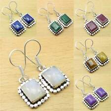 925 Silver Plated BLUE FIRE RAINBOW MOONSTONE & Other Gemstone HANDMADE Earrings