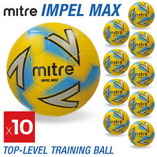 10 x New 2018 Mitre Impel Max Footballs Yellow - Sizes 3, 4 & 5 - Brand New