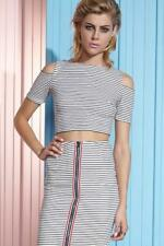 NEW SHAKUHACHI NAVY STRIPE CUT OUT CROP by Shakuhachi