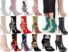 Womens Ladies Ankle Boot High Heel Sock Fit Black Party Pointed Shoes Size
