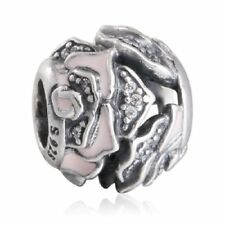 authentic sterling silver rose charm beads with cz & pink enamel charm bead