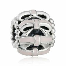 authentic 925 sterling silver Charms Pink Bow Openwork Enamel Charm Bead