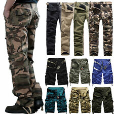 AU Mens Fashion Army Cargo Camo Combat Military Work Trousers Casual Pants 29-42