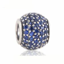 authentic Sterling Silver Screw Core Charm Beads with Blue Rhinestone Crystal