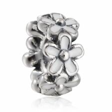 Spring authentic 925 sterling silver daisy spacer charm beads with white enamel
