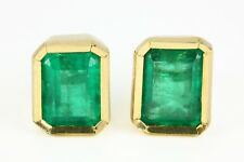 2.50 CTS Natural Top Green Emerald Cut Emerald Earrings Studs Yellow & White 18K