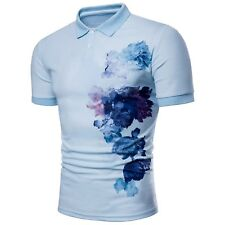 Short Sleeve Casual Style Polo Shirt Men's Slim Cotton Large Flowers Printing