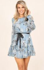 Women Casual Wear Chiffon Fabric Floral Printed Long Sleeve Ruffle Mini Dress