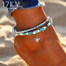 17KM Vintage Shell Beads Starfish Anklets For Women New Multi Layer Anklet Leg
