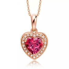 18K White/Rose Gold GP Necklace Red Heart Crystal Pendant Chain Choker Necklace