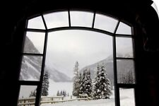 Wall Decal entitled Alberta, Lake Louise, Fairmont Chateau, View over the frozen