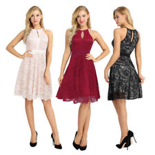 Womens Elegant Floral Lace Sleeveless Evening Party Cocktail Short Mini Dress