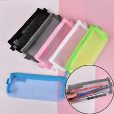 Clear Exam Pencil Case 20cm Transparent Simple Mesh Zipper Stationery Bag FBB