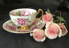 Aynsley Bone China  Large Pink Cabbage Rose Teacup And Saucer