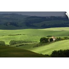 Wall Decal entitled Rolling agricultural farm fields and dappled sunlight,