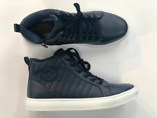 VIP COLLECTION MEN'S HIGH-TOP SNEAKERS Comfortable Shoes with laces Navy blue