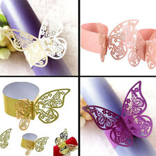 50pcs 3D Butterfly Paper Napkin Ring Holder for Xmas Wedding Party Table Decor
