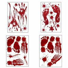 Wall Sticker Ghost Blood Red Footprint Scary Halloween Props Stickers Decoration