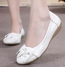 hot sale Women's round toe casual slip on bowknot Genuine Leather Flats Shoes