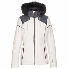 Womens KILLTEC Riina Colorblock Insulated Ski Jacket Coat Zip-Off Hood OFF WHITE