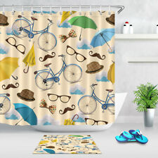 """71X71"""" Blue Vintage Bicycle Glasses Mustache Hat Umbrella Shower Curtain Fabric"""