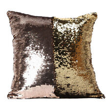 Reversible Mermaid Pillow Sequin Cover Glitter Sofa Car Cushion Case Double US