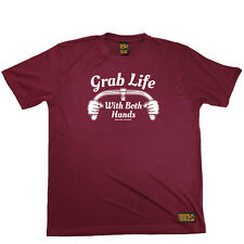 Cycling T-Shirt Funny Mens Sports Performance Tee - Grab Life With Both Hands