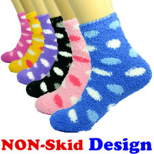 For Womens Lot 3-10 Pairs Soft Cozy Fuzzy Socks Dots W/ Non-Skid Solid Slipper
