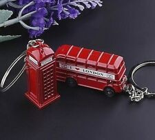 I love London Keychain Vintage Bus or Phone Booth Red Britain England Tradition