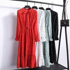 Women Chiffon Dress Stand Neck Bow Floral Print Ruffle Long Sleeve Elegant Wear
