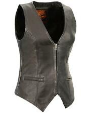 Milwaukee Leather Women's Lightweight Front Zipper Conceal Carry Vest  Black