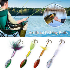 1Set Fishing Lures Sequins Spin Artificial Fishing Baits With Feather Hooks SP