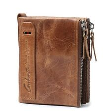 Men's Genuine Leather Wallet With Short Coin Purse Small Vintage Designer Wallet