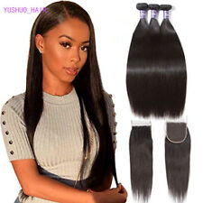 Brazilian Virgin Silky Straight Weave 3 Bundles Human Hair with 4×4 Lace Closure