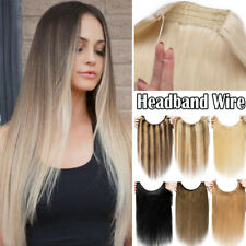 Stunning Blonde Secret Wire Headband Human Remy Hair Extensions One Piece THICK