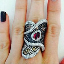 Vintage Turkey Handmade Jewelry 925Silver Multi-Color Gems Women Party Ring 6-10
