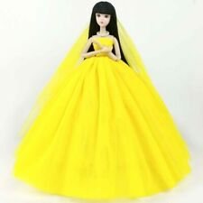 "Yellow Doll Dress For 11.5"" Doll Clothes High Quality Long Tail Evening Gown Toy"
