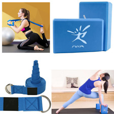 Yoga Blocks And Stretch Strap Belt Set For Fitness Pilates Exercise Training