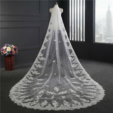 White/Ivory Wedding Veil  Long applique Lace Edge Cathedral Bridal Veils + comb