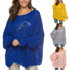 Women Autumn Winter Off Shoulder Sweaters Batwing Loose Knit Pullover Jumper Top