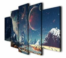 5Pcs Saturn Planet Landscape Print Painting Picture Wall Art Split Canvas Home D