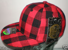 NEW ETHOS PLADDED RED & BLACK CHECKED FITTED HAT CAP