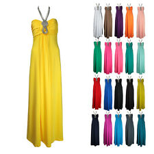 SEXY GLAMOROUS NECKLACE JEWEL STONES MAXI DRESS 8-14