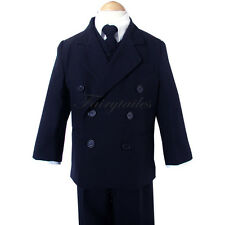 Boy Navy Blue Double Breasted Tuxedo Suit Select Size
