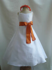 NEW WHITE ORANGE BRIDAL PARTY WEDDING FLOWER GIRL DRESS
